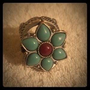 Amazing Lucky Brand LARGE turquoise flower ring